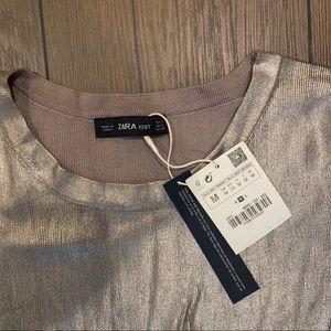 Zara Tops - Zara Women's Metallic Gold  Knit Shirt